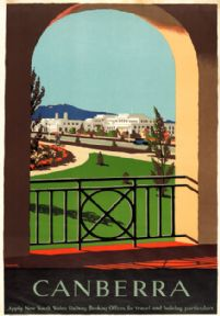 Parliament House, Canberra, Australia. Vintage Travel poster by Percy Trompf. c1930
